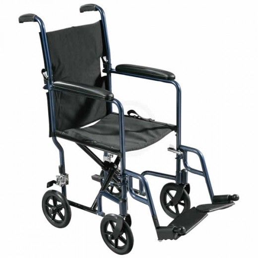 Note the size of the wheels on this transport wheelchair.