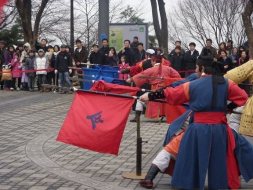 A traditional Martial Arts display at Seoul Namsan Tower Hill.