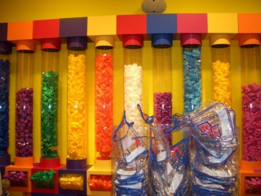 Mega Bloks grab bag sales bins in the Mega Bloks mall store.  This is a crowd favorite and makes it easy to pick out all of your childs favorite colors.