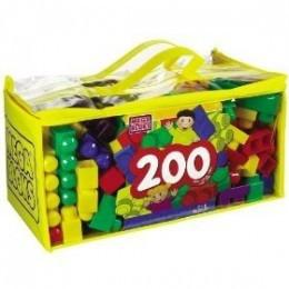 200 Cound Mega Bloks in easy carry plastic and vinyl big blocks case.
