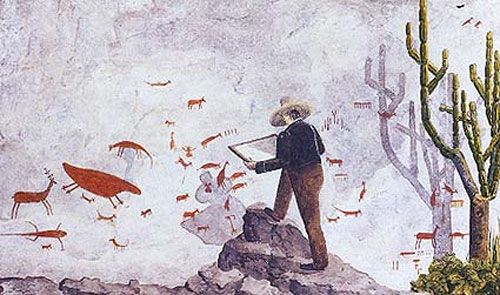 Naturalist's assistant shows him at work copying rock paintings in Brazil in 1840/
