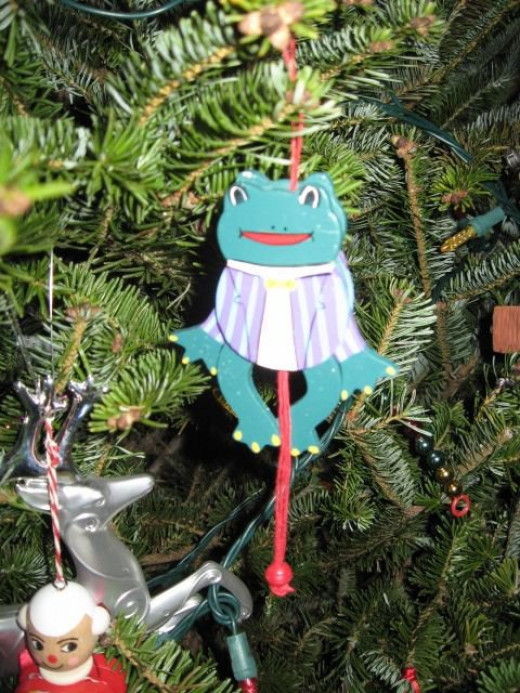 One of several frog ornaments in memory of our brother