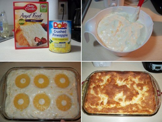 Pineapple Angel Food Cake: Okay, I may have cheated a bit with this one. I used crushed pineapple in the cake and then I added 6 pineapple rings on top. The rings sunk down into the cake as it baked so some bites offer an extra taste of pineapple. As