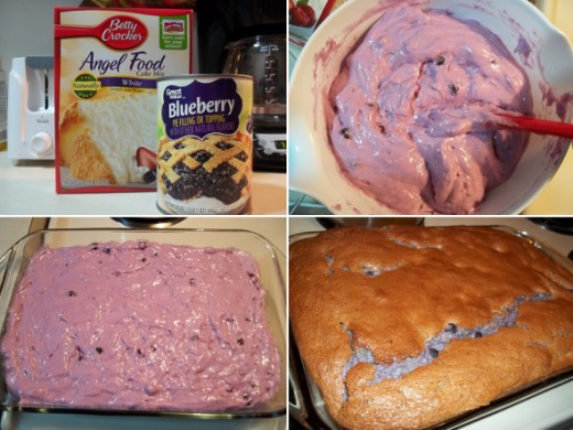 Blueberry Angel Food Cake: This cake surprised the heck out of me. It got so large and puffed up, I thought it was gonna walk right out of the pan. I ended up absolutely loving the taste. In fact, I'll even admit to having a piece for breakfast (shhh