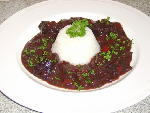 Braised Scottish Venison in a Red Wine and Red Pepper Reduction Recipe