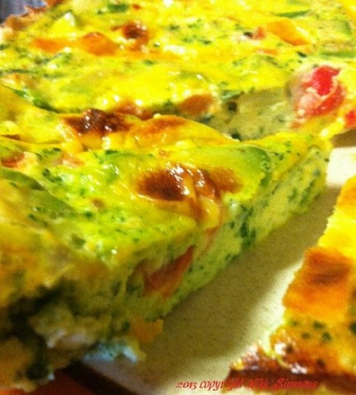 Avocado and spinach open-faced omelet, frittata style 2013 copyright Vikk Simmons