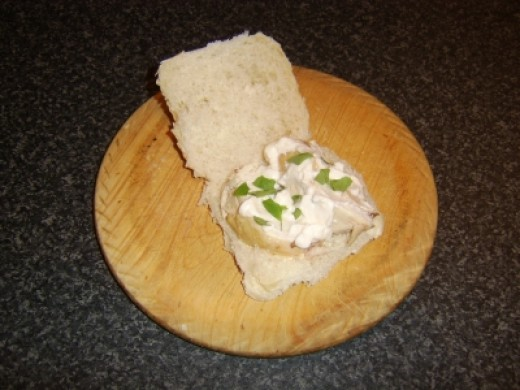 Roast Chicken Breast, Mayo and Basil Bread Roll