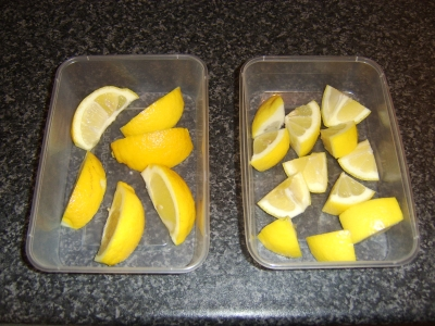 Preparing the lemons for freezing