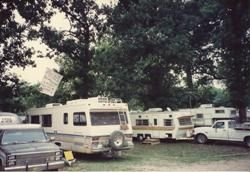 RV camping in the West Campground at 1992 WVF.  (You'll find tent camping in the Pecan Grove Campground.)