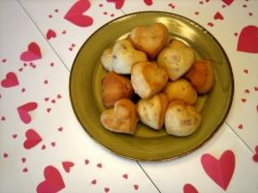 heart shaped muffins for romantic breakfast in bed