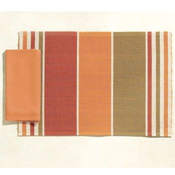 Warm up your dining table with rich colors and textures of our Earth Tone Stripe Napkins. These napkins are perfect for giving your dining decor that extra touch. Placemats and Napkins sold individually.