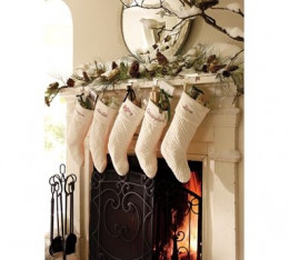 White Stockings and fireplace.From decoratingyourworld.blogspot.com