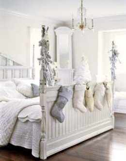 White ChristmasI love when people carry holiday decorating into the bedrooms. Here guests wake up to white trees, garland and white linen stockings draped along the footboard.By willowdecor.blogspot.com