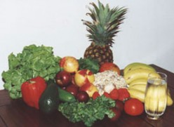 Healthy fruits and vegetables.