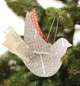 paperback bird ornament