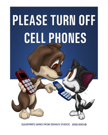 """Please Turn Off Cell Phones"" poster by Fred May"
