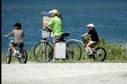 Bicycles are everywhere. Here a family is enjoying the island by bicyle.