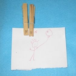 Make letters with clothespins to help teach spelling.
