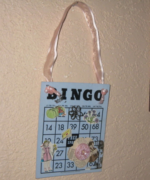 A BINGO card used as the base of a mini-collage.
