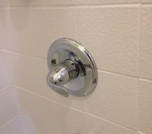 I wipe the chrome fixtures down with a towel after every shower, to keep them sparkling. It takes just a few seconds.