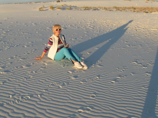 My enjoying sunset at White Sands National Monument, New Mexico