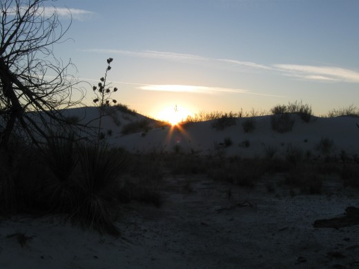 Last rays of sun in White Sands National Monument, NM