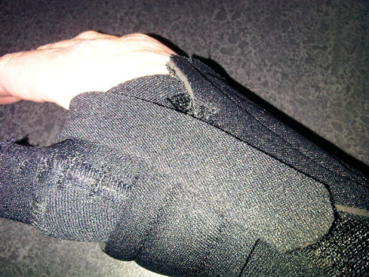 ...and over.  Velcro once again keeps the splint in place.  My therapist cut the last flap as it was quite long.