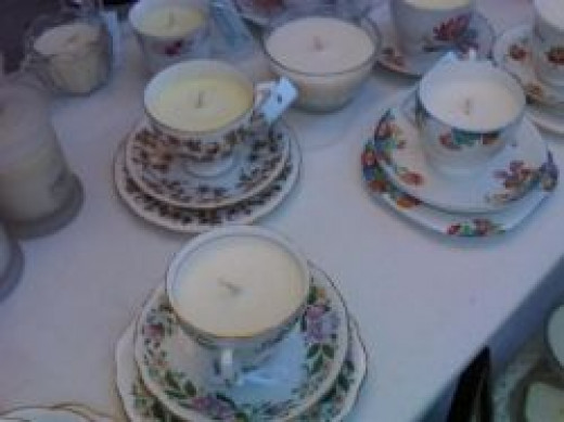candle cup and saucer set