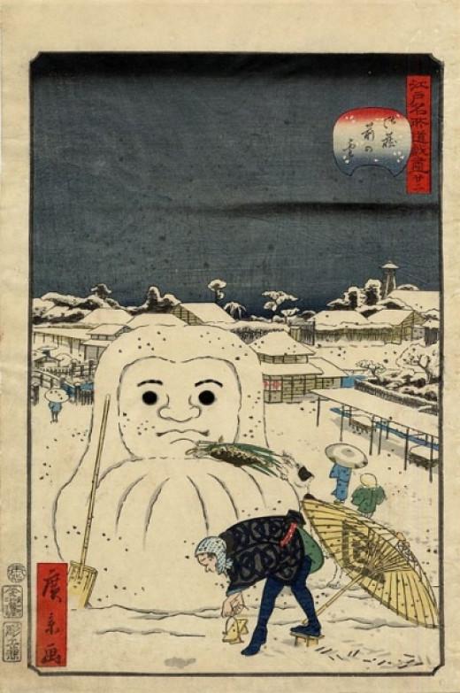 Doesn't the Daruma make a perfect shape for a snowman?