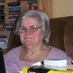 Grandma Marilyn at her computer