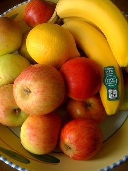 Fruit bowl with organic and fair trade fruit