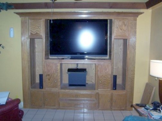 Built-In Entertainment Center Using Nail Guns From Father's Day