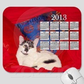 Cat on Red & Blue Pillows 2013 Calendar Mousepad