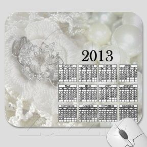 Gorgeous In White 2013 Calendar Mousepad