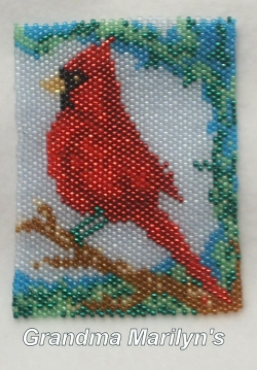 Cardinal I beaded in Peyote for my Dad