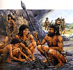 A caveman and his family