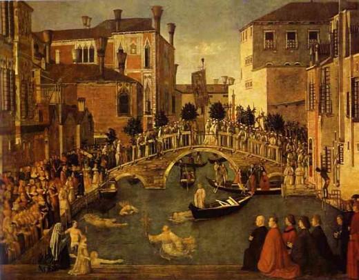 The Bridge of San Lorenzo, Venice by Gentile Bellini