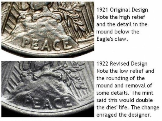 Peace Dollar Changes 1921 to 1922. High Relief to Low Relief