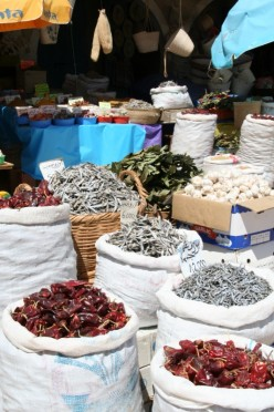 Spice market in Tunisia - hot chillies and dried anchovies