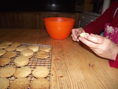 Filling The Cookies- before putting them in your cookie jar- if you can before they get eaten!