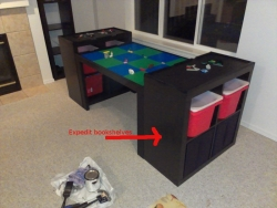 Lego Table Made Out Of Workbench And Book Shelves