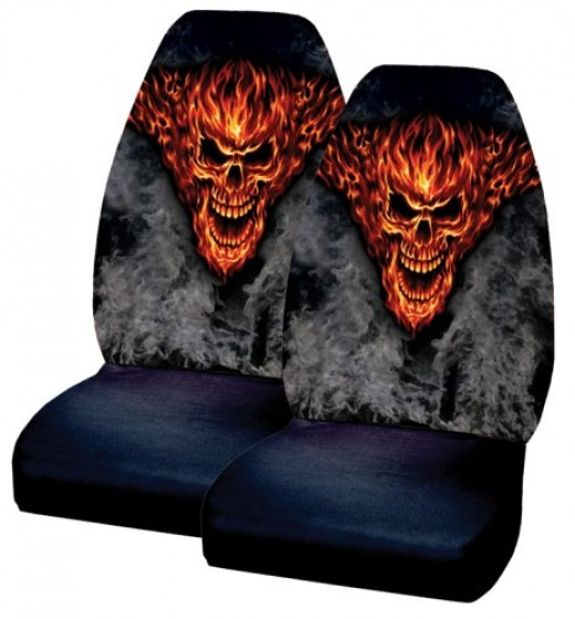 Raging Inferno Skull Flames Smoke Front Bucket Covers