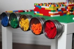 Lego Table With Magnetic Strip For Storage