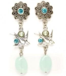 Silver Tone Swallow Bird Dangle Crystal Earrings