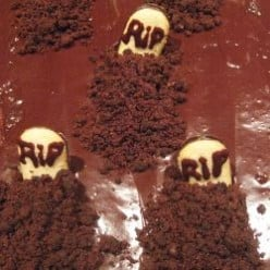 Chocolate Graveyard Cakes with Headstones