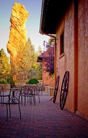 Glen Eyrie Carriage House where all guests are checked into their rooms. Also houses a fantastic bookstore.