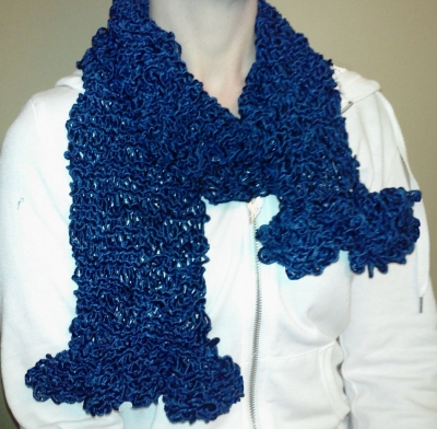 The Scarf Pattern From the Intro Photo, Knitted on Larger (Size 11) Needles, and With A Shorter Ruffle