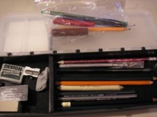 Pencils in an Art Bin for nature journal
