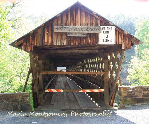Front entrance to Horton Mill Bridge during the current restoration project.