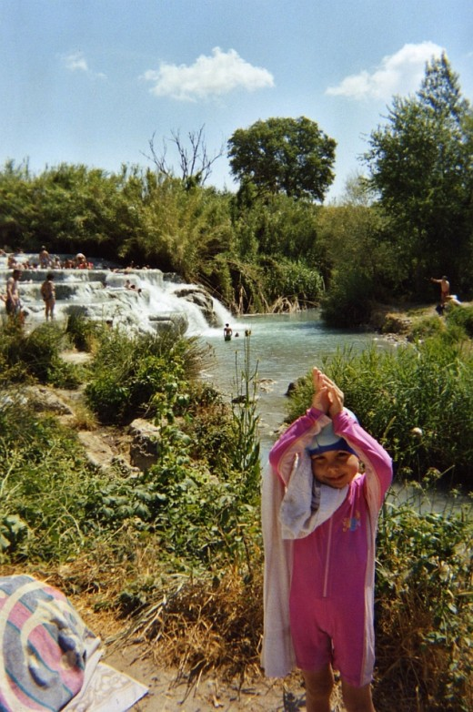 4 year old wearing protective swimwear at Thermal baths.